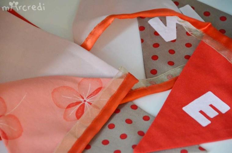 guirlande fanions rouge taupe details