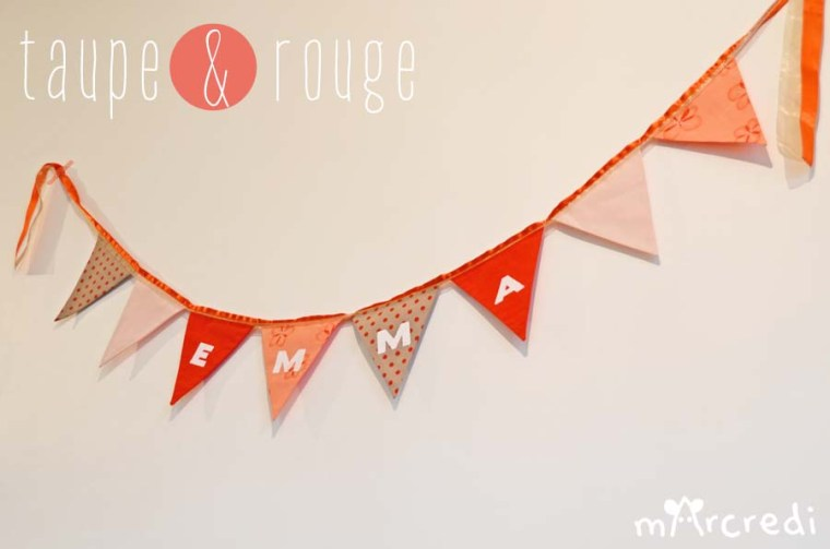 guirlande fanions rouge taupe