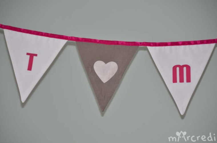guirlande just married rose gris coeur