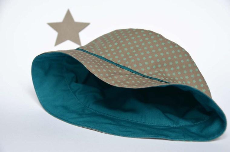 chapeau étoiles beige vert doublure