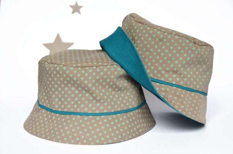 chapeau étoiles beige vert