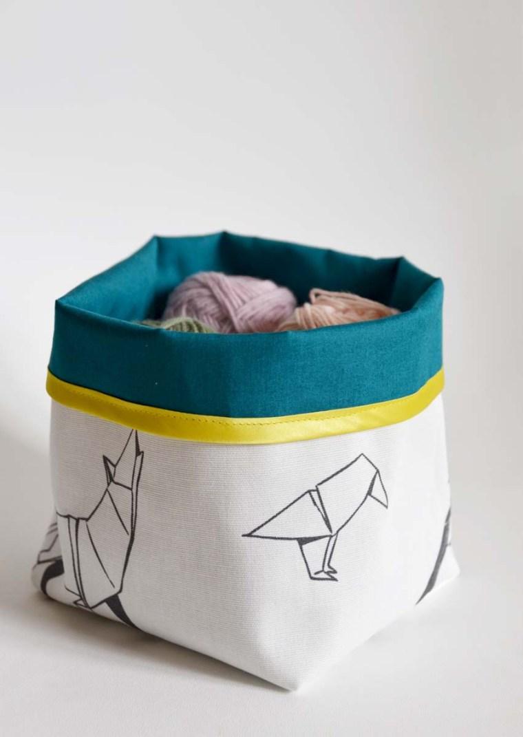 vide poche origami bleu jaune