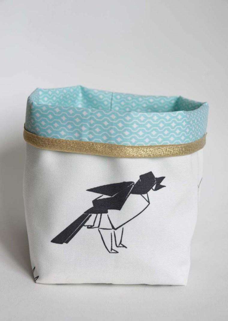 vide poche origami oiseau bleu doré