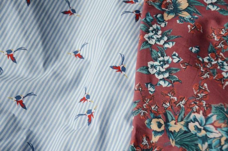 tissu-rayures-oiseaux-fleurs