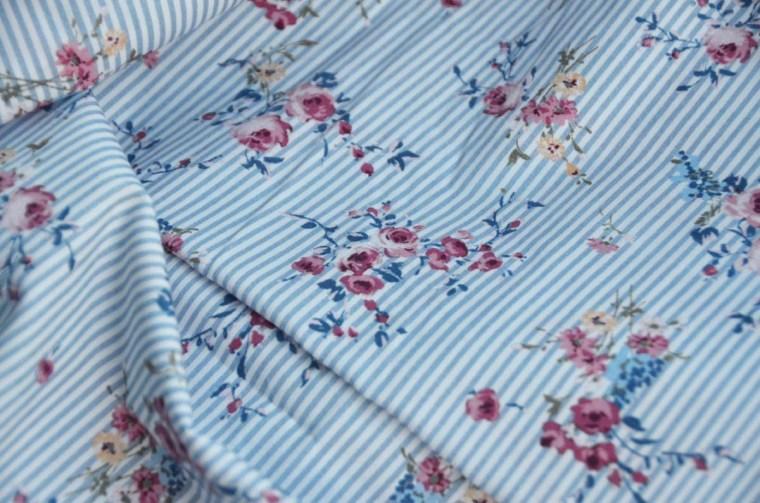 tissu coton rayures fleurs