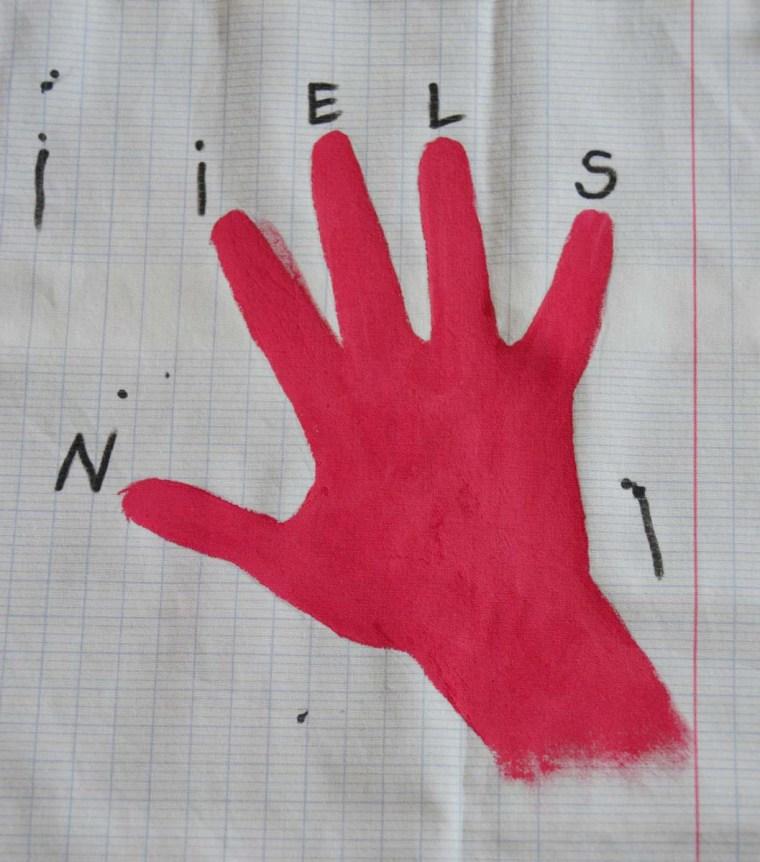 cadeau maitresse main peinte tissu